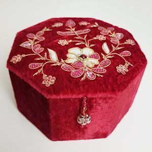 Pier 1 Velvet Beaded Trinket Box